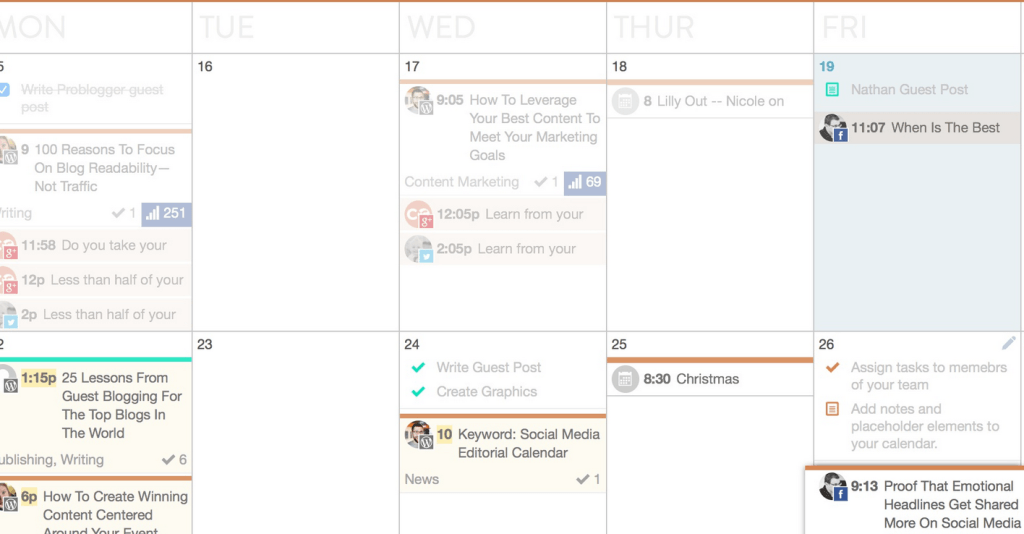CoSchedule's editorial calendar help bloggers.