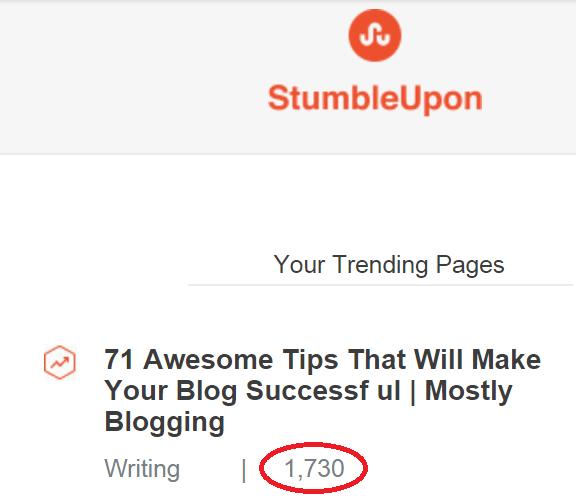 StumbleUpon produces mass traffic
