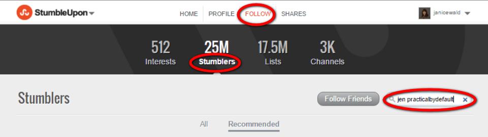 StumbleUpon How to Follow Users